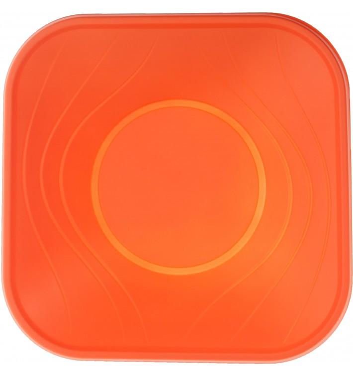 "Bol de Plastico PP ""X-Table"" Cuadrado Naranja 180x180mm (120 Uds)"