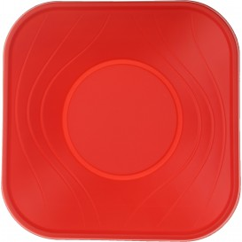 "Bol de Plastico PP ""X-Table"" Cuadrado Rojo 180x180mm (8 Uds)"
