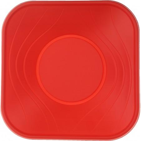 Bol de Plastico Cuadrado Rojo PP 180x180mm (8 Uds)