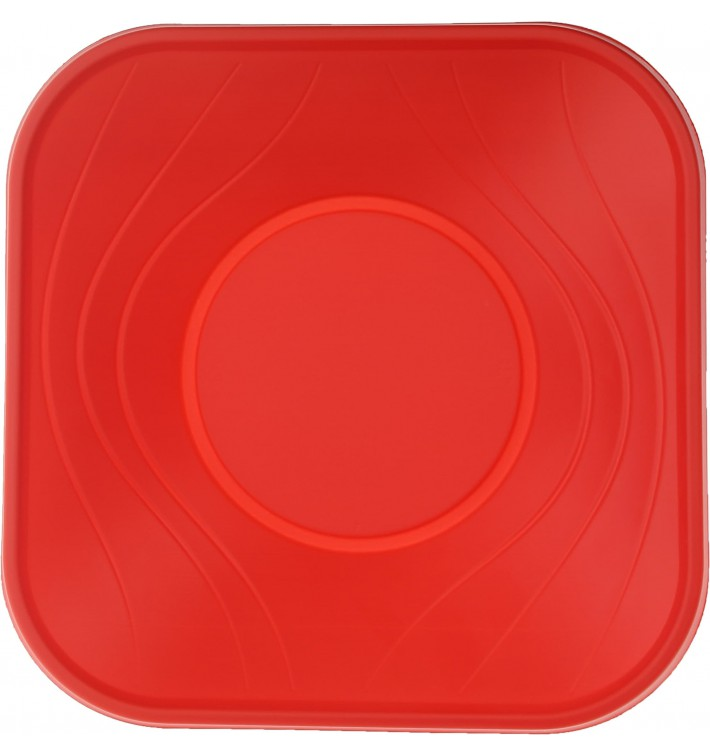 "Bol de Plastico PP ""X-Table"" Cuadrado Rojo 180x180mm (120 Uds)"