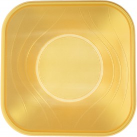 "Bol de Plastico PP ""X-Table"" Cuadrado Oro 180x180mm (8 Uds)"