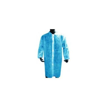 Bata Industrial PE Cierre Botón Azul (1 Ud)