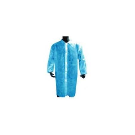 Bata Industrial PE Cierre Botón Azul (100 Uds)