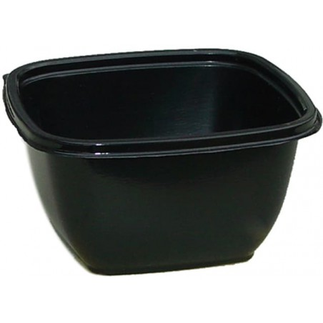 Bol Plástico Negro PET 375ml 125x125x50mm (50 Uds)