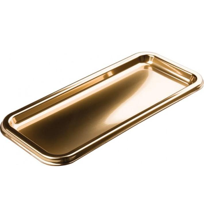 Bandeja Plastico Rectangular Oro 35x16cm (5 Uds)