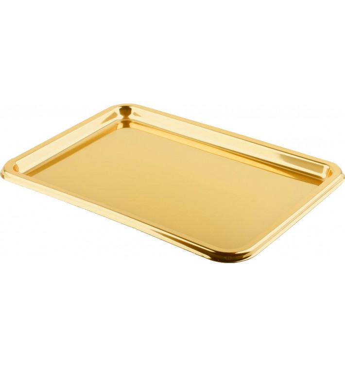 Bandeja Plastico Rectangular Oro 35x24 cm (5 Uds)