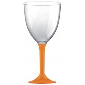 Copa Plastico Vino Pie Naranja 300ml 2P (20 Uds)