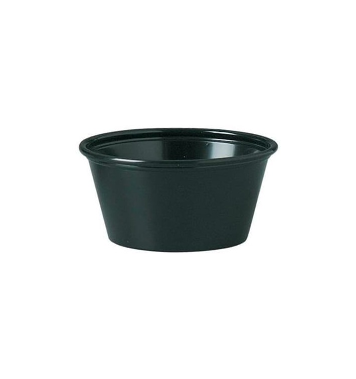 Tarrina de Plastico PP para Salsas Negro 60ml Ø66mm (125 Uds)