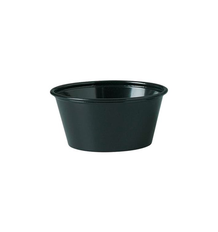 Tarrina de Plastico PP para Salsas Negra 100ml Ø73mm (2500 Uds)