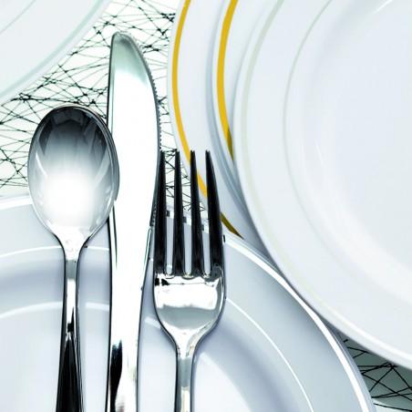 Tenedor de Plastico Metalizado 150mm (500 Uds)