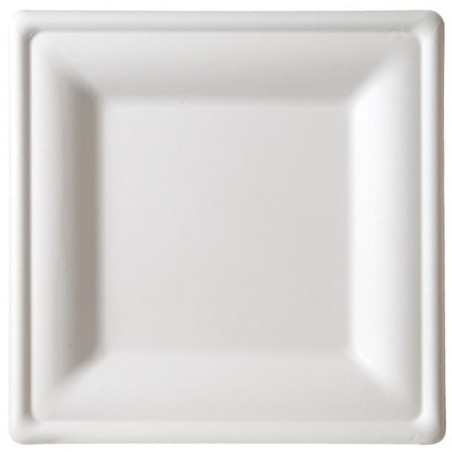 Plato Cuadrado Caña de Azucar Blanco 150x150mm (25 Uds)