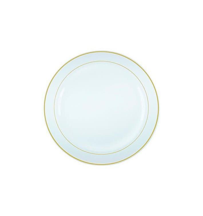 Plato Plastico Extra Rigido con Ribete Oro 26cm (90 Uds)