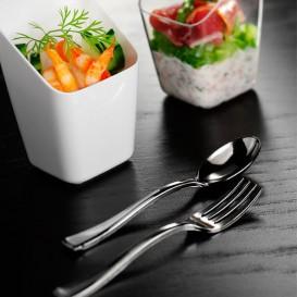 Mini Tenedor de Plastico Metalizado 100mm (50 Uds)