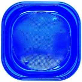 Plato de Plastico PS Cuadrado Azul Oscuro 200x200mm (30 Uds)
