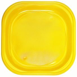 Plato de Plastico PS Cuadrado Amarillo 200x200mm (720 Uds)