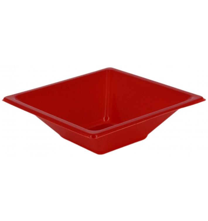 Bol de Plástico PS Cuadrado Rojo 12x12cm (12 Uds)