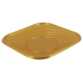 "Plato de Plastico PP ""X-Table"" Cuadrado Oro 180mm (8 Uds)"