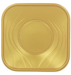 "Plato de Plastico PP ""X-Table"" Cuadrado Oro 230mm (120 Uds)"