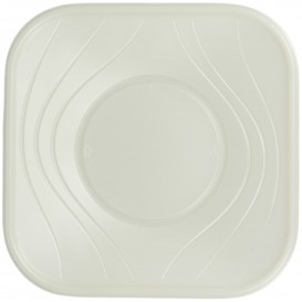 "Plato de Plastico PP ""X-Table"" Cuadrado Perla 180mm (8 Uds)"