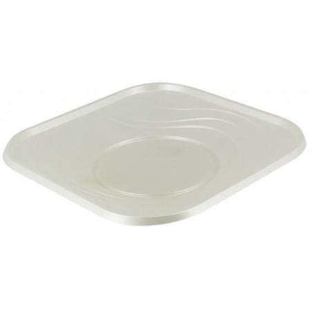 """Plato de Plastico PP """"X-Table"""" Cuadrado Perla 180mm (8 Uds)"""