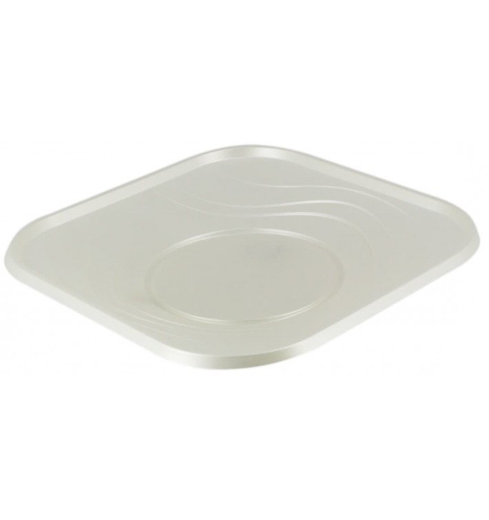 """Plato de Plastico PP """"X-Table"""" Cuadrado Perla 180mm (120 Uds)"""