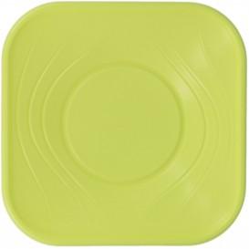 """Plato de Plastico PP """"X-Table"""" Cuadrado Lima 230mm (8 Uds)"""
