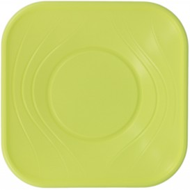 "Bol de Plastico PP ""X-Table"" Cuadrado Lima 180x180mm (120 Uds)"