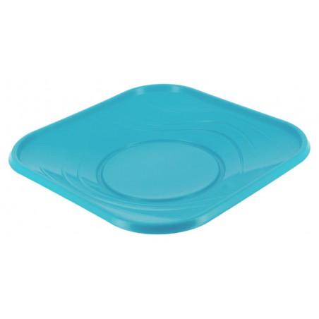 Plato de Plastico Cuadrado Turquesa PP 230mm (8 Uds)