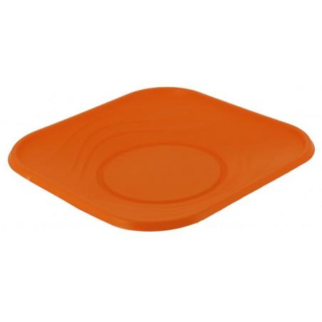 "Plato Reutilizable Económico PP ""X-Table"" Naranja 18x18cm (120 Uds)"