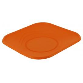Plato de Plastico Cuadrado Naranja PP 230mm (8 Uds)