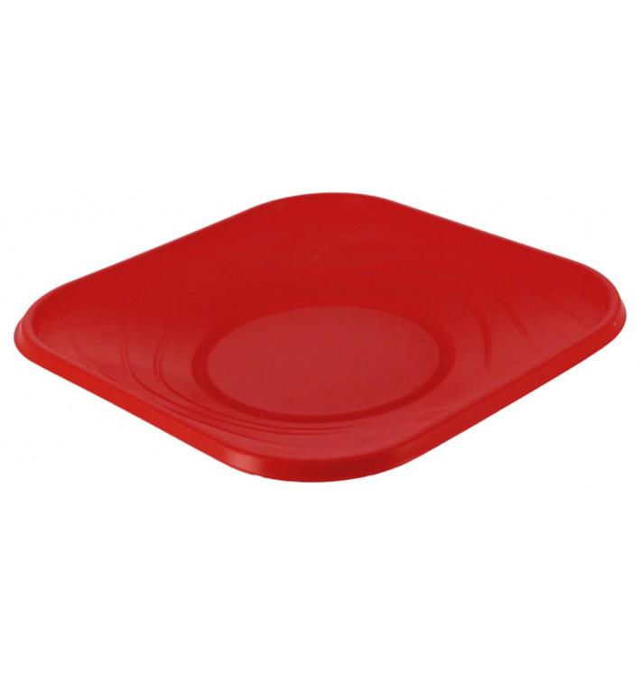 """Plato de Plastico PP """"X-Table"""" Cuadrado Rojo 230mm (8 Uds)"""