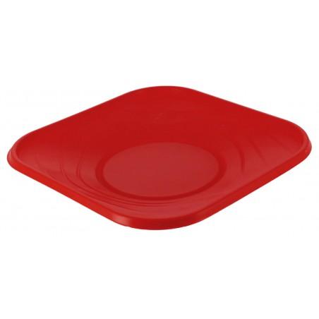 Plato de Plastico Cuadrado Rojo PP 180mm (8 Uds)