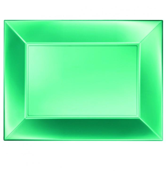 Bandeja Plastico Verde Nice Pearl PP 345x230mm (60 Uds)