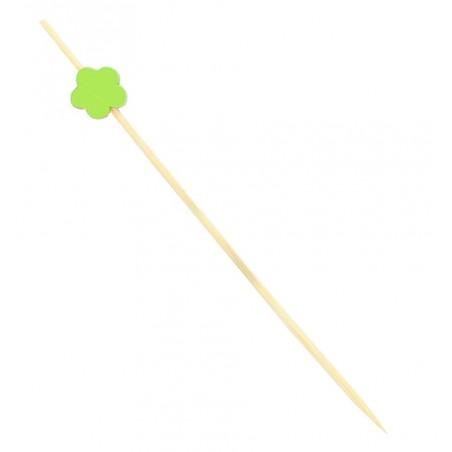 """Pinchos de Madera """"Flor"""" Verde 120 mm (200 Uds)"""