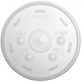Tapa de plastico PS Translúcida con Cruz Ø9,9cm (100 Uds)