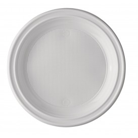Plato de Plastico Llano Blanco PS 220 mm (100 Uds)