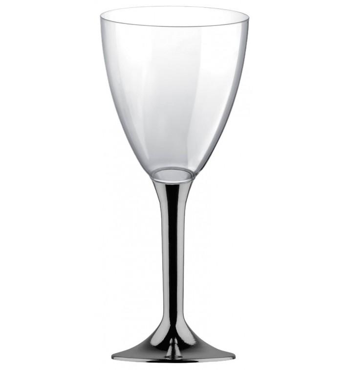 Copa de Plastico Vino con Pie Niquel Cromado 180ml (20 Uds)