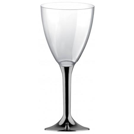 Copa Plastico Vino Pie Niquel Cromado 300ml 2P (20 Uds)
