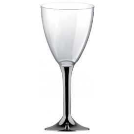 Copa de Plastico Vino con Pie Niquel Cromado 300ml (200 Uds)