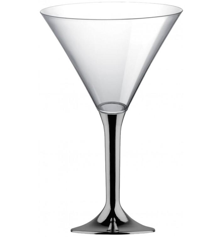 Copa de Plastico Cocktail con Pie Niquel Cromado 185ml (20 Uds)