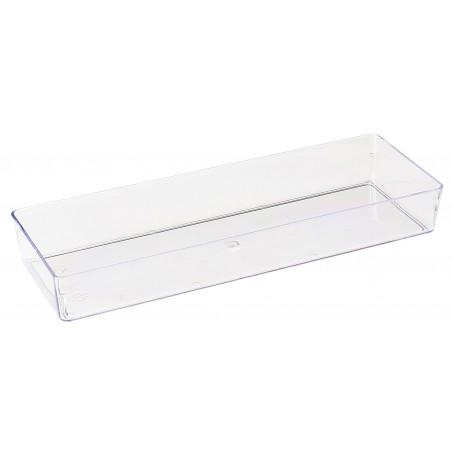 Bandeja de Plastico Rectangular Transparente 4,6x13cm  (500 Uds)