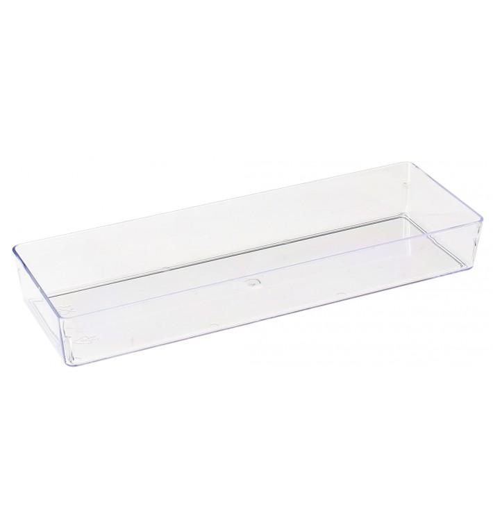 Bandeja de Plastico Rectangular Transparente 4,6x13cm (50 Uds)