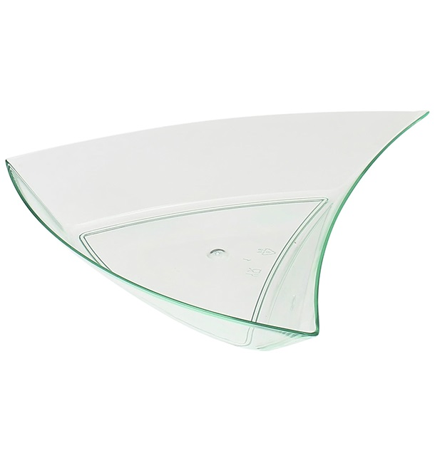 Salsera Degustacion Triangulo Verde Transp.12,5x12x2cm (12 Uds)