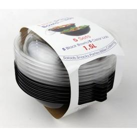 Bol de Plástico Negro PET + tapa 1500ml Ø230mm (5 Uds)