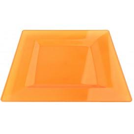 Plato Plastico Cuadrado Extra Rigido Naranja 20x20cm (4 Uds)