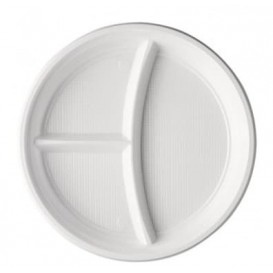 Plato de Plastico PS 3 Compartimentos Blanco 220mm (100 Uds)