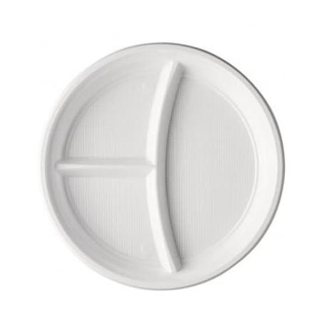 Plato de Plastico PS 3 Compartimentos Blanco 220 mm (100 Uds)