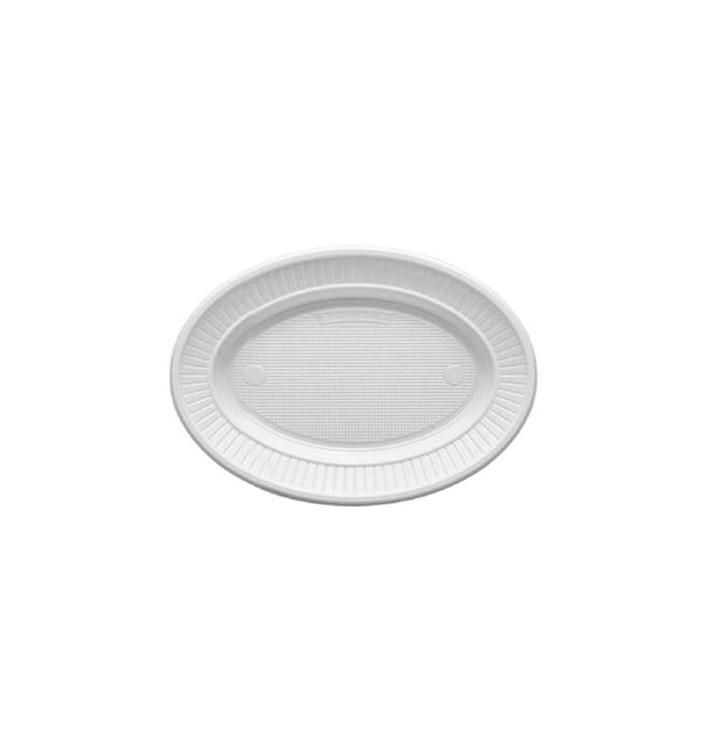 Plato de Plastico PS Ovalado Llano Blanco (1000 Uds)