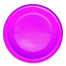 Plato de Plastico PS Hondo Fucsia Ø220mm (600 Uds)