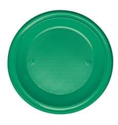 Plato de Plastico PS Hondo Verde Ø220mm (600 Uds)